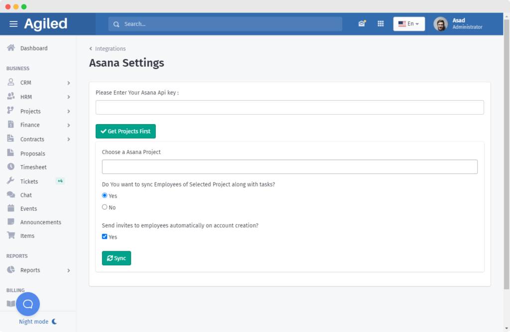 asana integration page to import projects