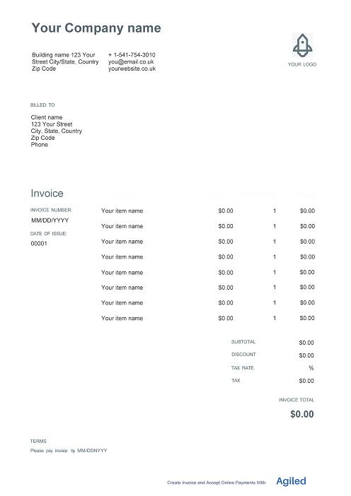 Sample invoice template